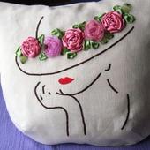 """Летняя сумка+ косметичка """"Шляпка с розами..."""""""