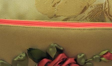 "Косметичка "" Роза"", вышивка лентами ручной работы на заказ"