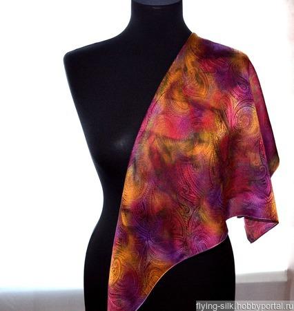Платок пейсли восточный огурец яркий женский шейный шелковый жаккард ручной работы на заказ