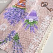 """Полотенце кухонное """"Lavender"""" вафельное бежевое сиреневое"""