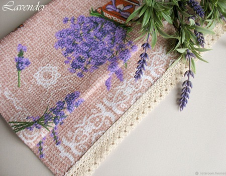 """Полотенце кухонное """"Lavender"""" вафельное бежевое сиреневое ручной работы на заказ"""