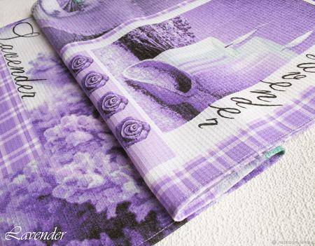 """Полотенце кухонное """"Сиреневое чудо""""с лавандой вафельное фиолетовое ручной работы на заказ"""