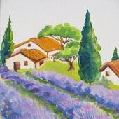 "Картина с лавандой пейзаж ""Утро в Провансе""  миниатюра"