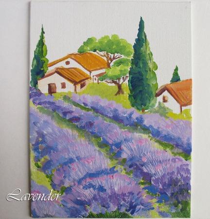 """Картина с лавандой пейзаж """"Утро в Провансе""""  миниатюра ручной работы на заказ"""