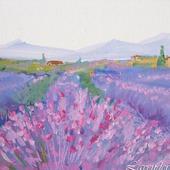 """Картина с цветами пейзаж """"Лавандовая деревушка""""  сиреневая миниатюра"""