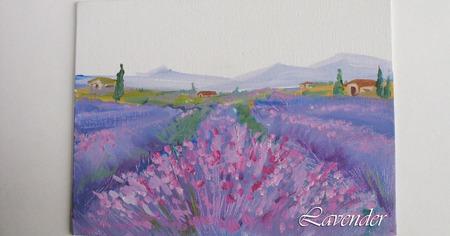 """Картина с цветами пейзаж """"Лавандовая деревушка""""  сиреневая миниатюра ручной работы на заказ"""