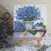 """Картина с цветами """"Синий букет"""" маленькая натюрморт"""