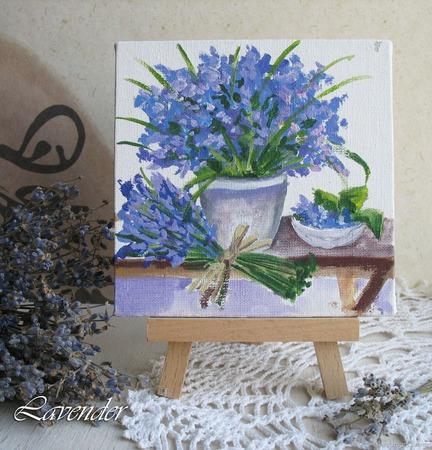 """Картина с цветами """"Синий букет"""" маленькая натюрморт ручной работы на заказ"""