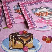 """Полотенце кухонное вафельное """"Сладкий чай"""" розовое синее"""