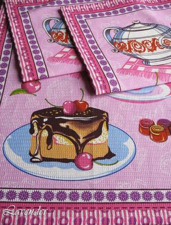 """Полотенце кухонное вафельное """"Сладкий чай"""" розовое синее ручной работы на заказ"""