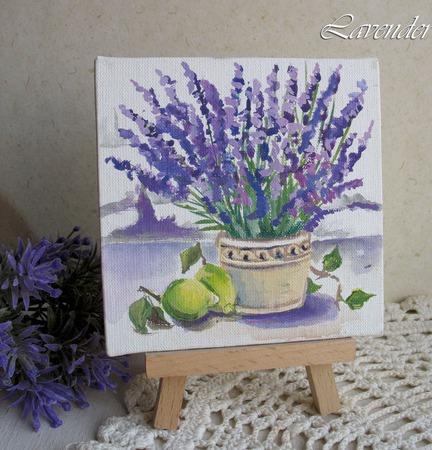 """Картина """"Лаванда и лимон"""" маленькая натюрморт сиреневая ручной работы на заказ"""