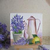 """Картина """"Натюрморт с лавандой""""  на холсте миниатюра цветы"""