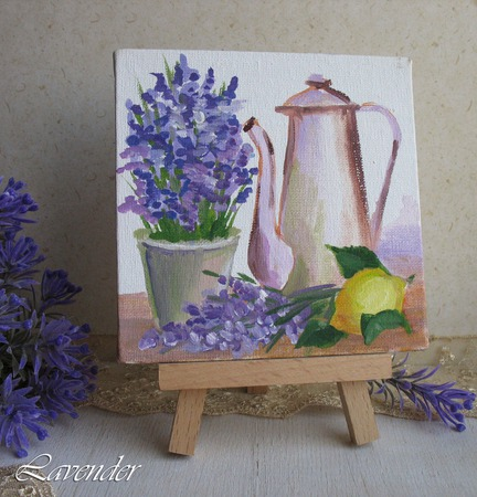 "Картина ""Натюрморт с лавандой""  на холсте миниатюра цветы ручной работы на заказ"