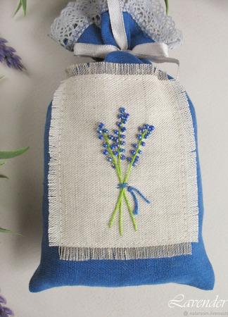 """Саше с лавандой """"Букет на память"""" мешочек синий с цветами ручной работы на заказ"""