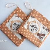 """Прихватки 2 шт. для кухни набор """"Кофейный аромат"""" коричневые"""