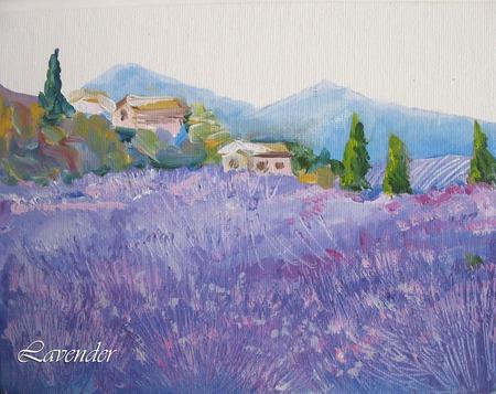 """Картина пейзаж """"Прогулка по лавандовым полям""""  прованс шебби ручной работы на заказ"""