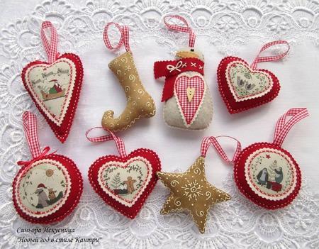 """Новогодний набор 8шт. игрушек """"Новый год, Кантри, Пряники """" ручной работы на заказ"""