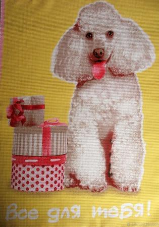 """Полотенце кухонное вафельное """"Собачки"""" желтое розовое ручной работы на заказ"""