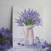 "Картина ""Аромат лаванды"" натюрморт миниатюра цветы"