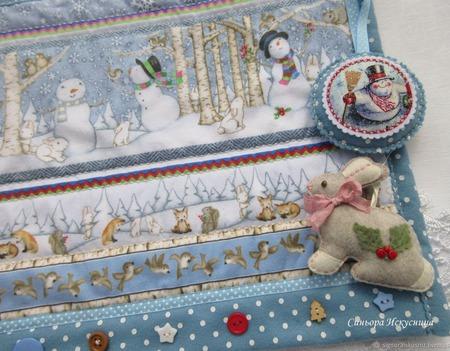 """Новогоднее текстильное панно """"Лесные жители"""" ручной работы на заказ"""