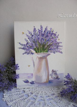 """Картина """"Аромат лаванды"""" натюрморт миниатюра цветы ручной работы на заказ"""