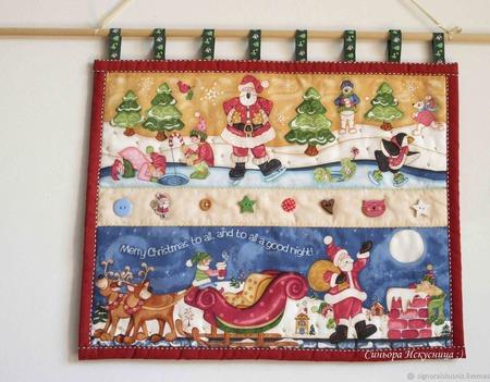 """Новогоднее текстильное панно """"Дед Мороз, Новый год"""" ручной работы на заказ"""