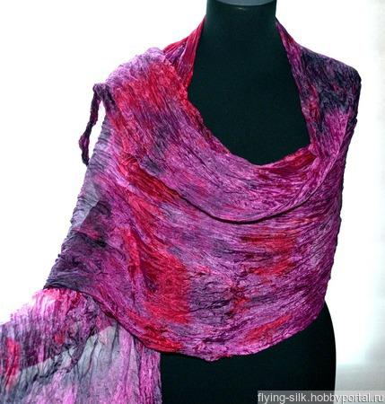 Большой шелковый шарф красно розово серый ручной работы на заказ
