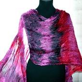 Большой шелковый шарф красно розово серый