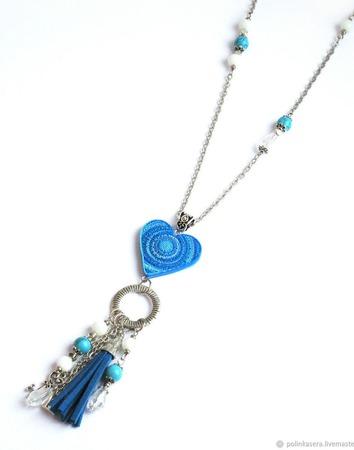 """Кулон сотуар """"Ледяное сердце"""" длинный с подвесками голубой сердце ручной работы на заказ"""