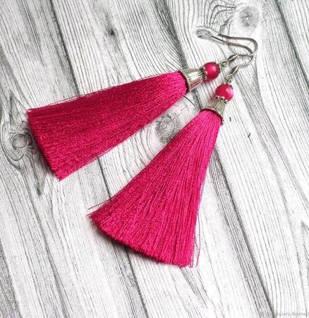 """Серьги кисти """"Бархатная роза"""" шелковые длинные розовые цвет фуксии ручной работы на заказ"""