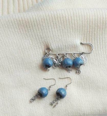 """Брошь булавка и серьги """"Колокольчики"""" комплект украшений голубой ручной работы на заказ"""