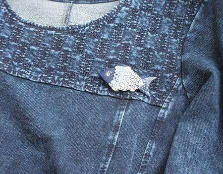 """Брошь из полимерной глины """"Рыбка"""" ручной работы синяя ручной работы на заказ"""