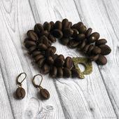 """Комплект из полимерной глины """"Кофе"""" браслет серьги коричневый"""
