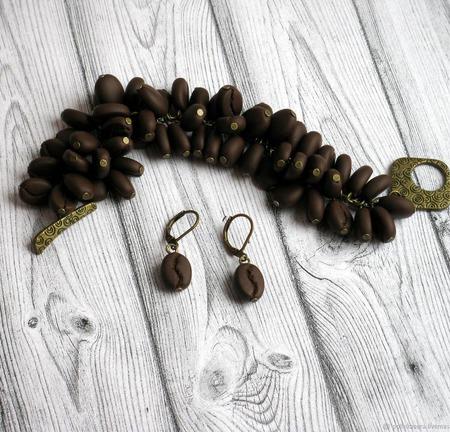 """Комплект из полимерной глины """"Кофе"""" браслет серьги коричневый ручной работы на заказ"""