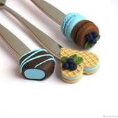 """Ложки вкусные из полимерной глины """"Черничный десерт"""" голубые"""