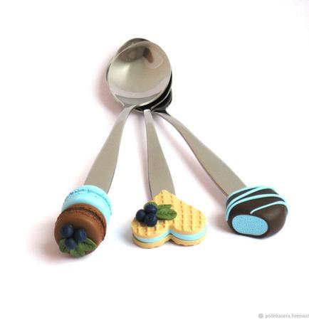 """Ложки вкусные из полимерной глины """"Черничный десерт"""" голубые ручной работы на заказ"""