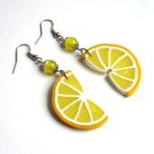 """Серьги лимонные дольки """"Лимончики"""" желтые длинные прозрачные"""