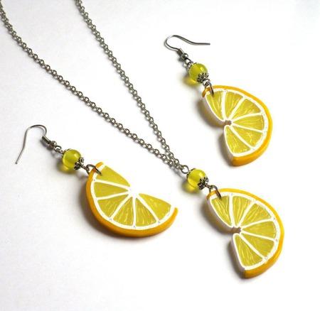 """Серьги лимонные дольки """"Лимончики"""" желтые длинные прозрачные ручной работы на заказ"""