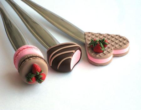 """Ложки вкусные из полимерной глины """"Клубничный десерт"""" розовые ручной работы на заказ"""