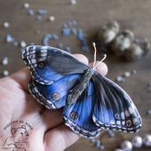 Брошь из кожи Бабочка Blue Pansy