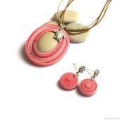 Комплект украшений Черепашка серьги кулон из полимерной глины розовый