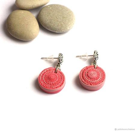 Комплект украшений Черепашка серьги кулон из полимерной глины розовый ручной работы на заказ