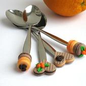 """Вкусные ложки """"Апельсины и кофе"""" вафли макаруны оранжевый коричневый"""