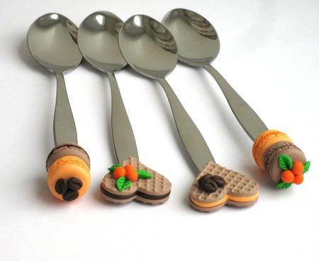 """Вкусные ложки """"Апельсины и кофе"""" вафли макаруны оранжевый коричневый ручной работы на заказ"""