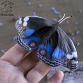 Брошь из кожи Бабочка Blue Pansy-2