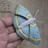 Брошь из кожи Бабочка Пяденица Великолепная