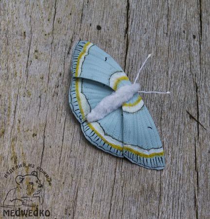 Брошь из кожи Бабочка Пяденица Великолепная ручной работы на заказ