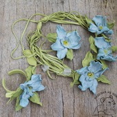 Комплект украшений из кожи  Голубая Орхидея