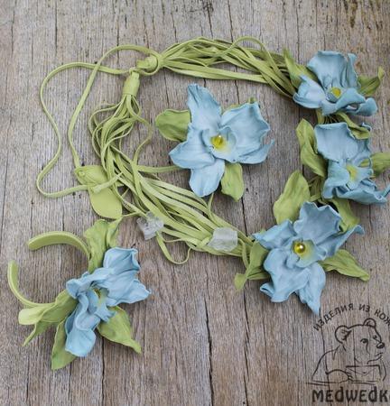 Комплект украшений из кожи  Голубая Орхидея ручной работы на заказ