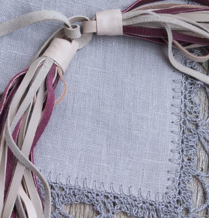 Комплект украшений из кожи Ягодное суфле ручной работы на заказ